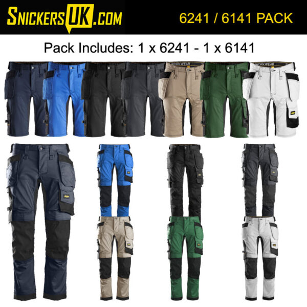 Snickers AllRoundWork Stretch Holster Pocket Trousers & Shorts Pack