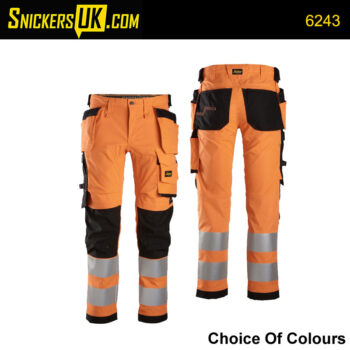 Snickers 6243 AllRoundWork High Vis Stretch Holster Pocket Trousers