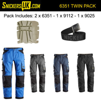 Snickers 6351 AllRoundWork Stretch Loose Fit Non Holster Pocket Trousers Pack