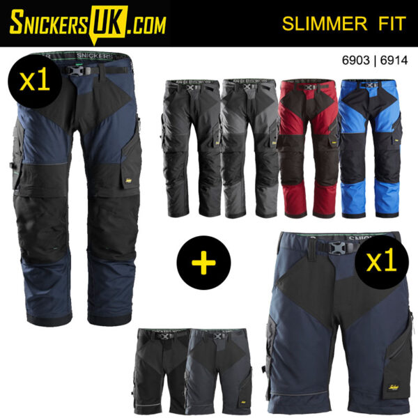 Snickers FlexiWork Non Holster Pocket Trousers & Shorts Pack
