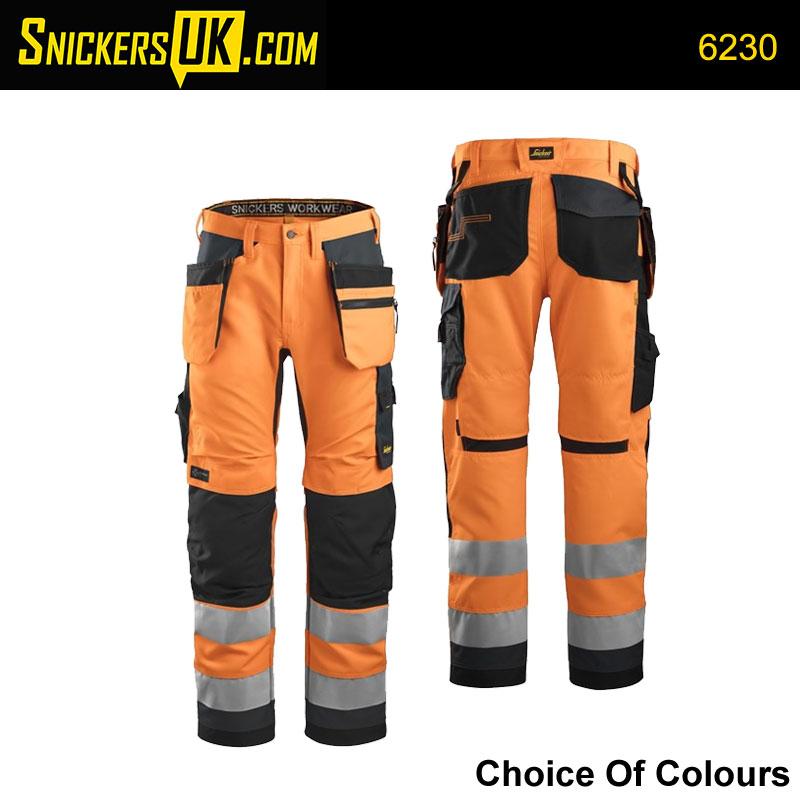 Snickers 6230 AllRoundWork Hi-Vis Holster Pocket Trousers