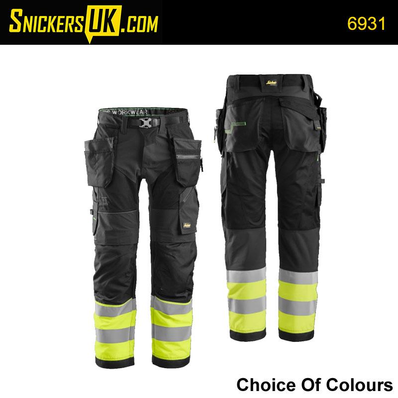 Snickers 6931 FlexiWork Hi-Vis Holster Pocket Trousers