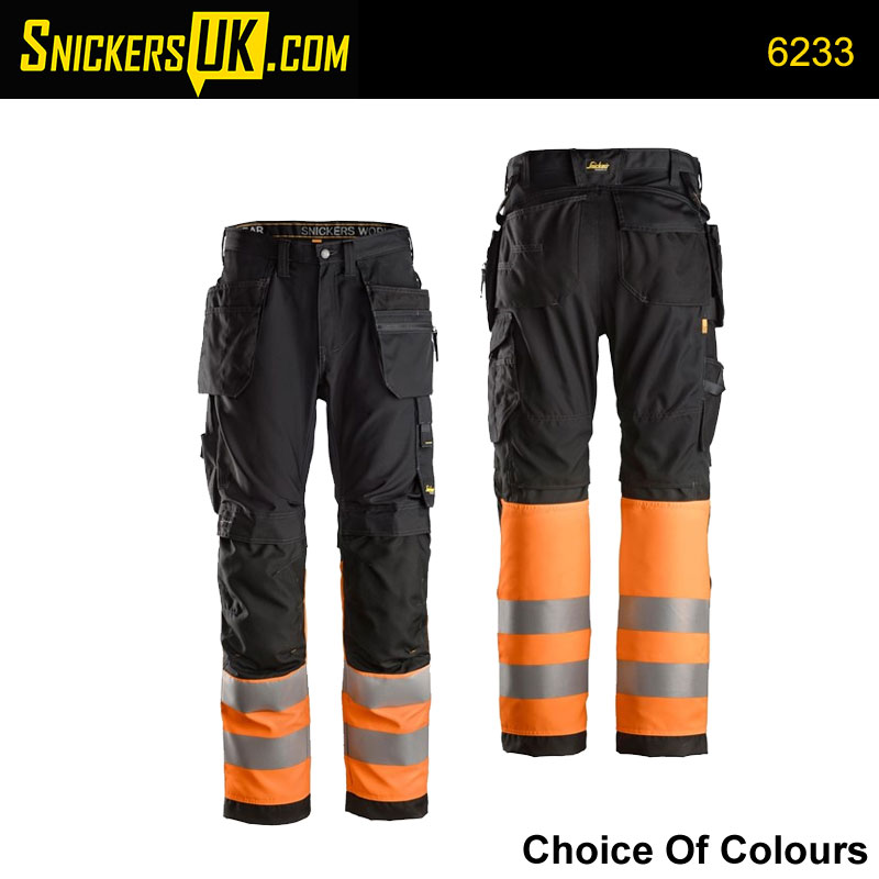 Snickers 6233 AllRoundWork High Vis Holster Pocket Trousers