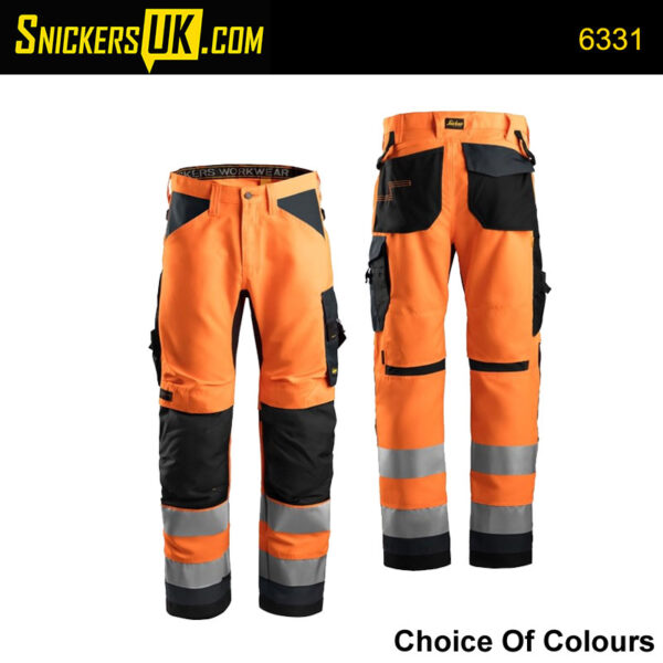 Snickers 6331 AllroundWork Hi-Vis Non Holster Pocket Trousers