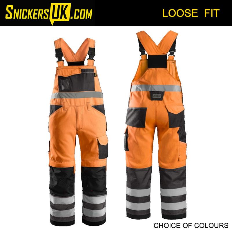 Snickers 0113 High-Vis Bib & Brace Trousers
