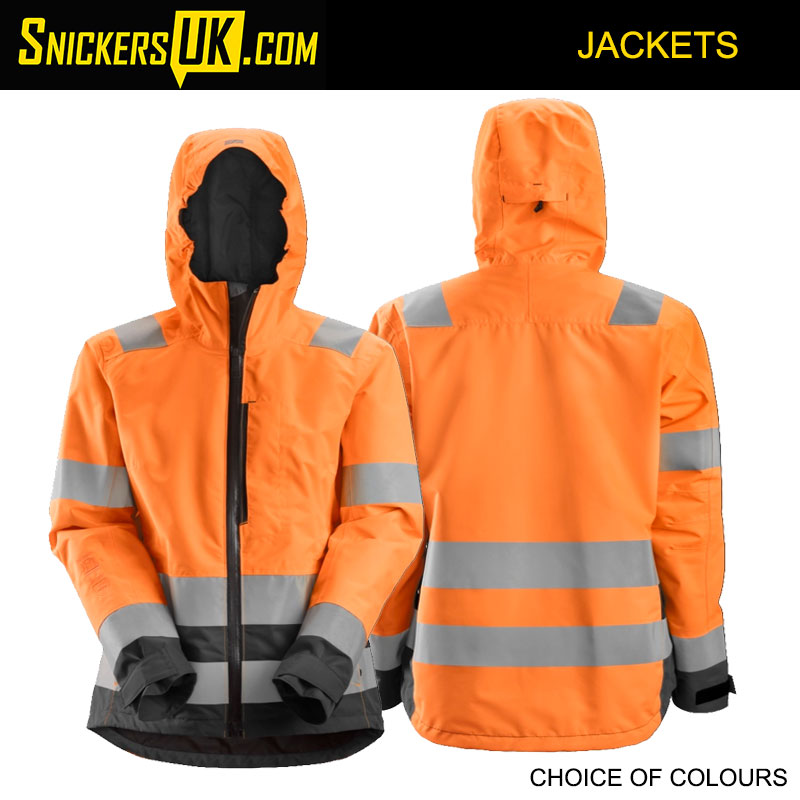 Snickers 1347 AllRoundWork Women's High Vis Waterproof Shell Jacket - High Vis Jackets