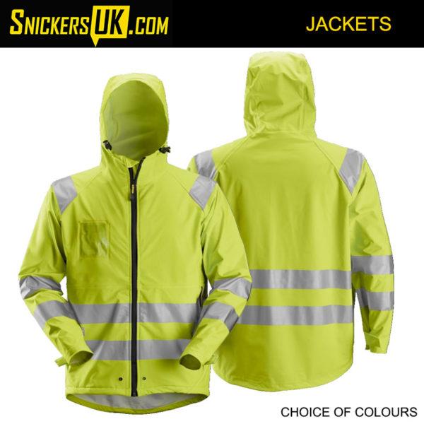 Snickers 8233 High-Vis PU Rain Jacket | Snickers Waterproof Hi-Vis Jackets