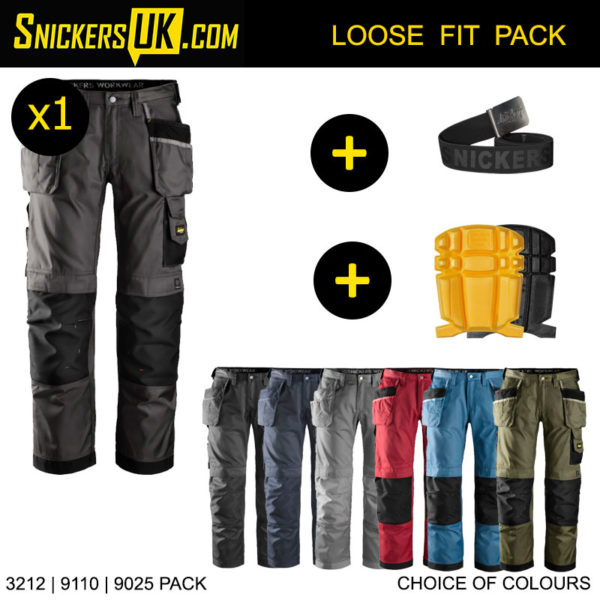 Snickers 3212 Duratwill Holster Pocket Trousers Pack - Snickers Work Trousers, Kneepads & Belt