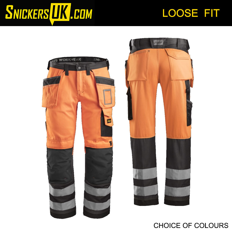 Snickers 3233 High-Vis Holster Pocket Trousers - Snickers Hi Vis Trousers