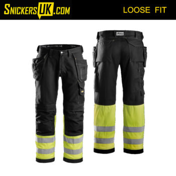 Snickers 3235 High-Vis Cotton Holster Pocket Trousers - Snickers Hi Vis Trousers