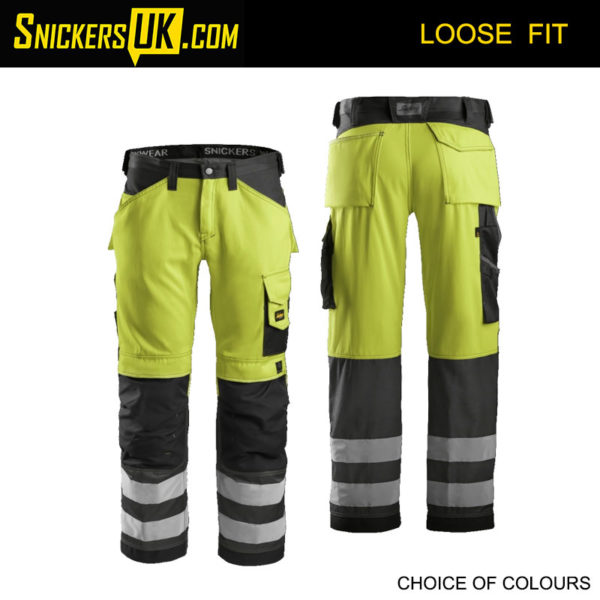 Snickers 3333 Hi-Vis Non Holster Pocket CL2 Trousers - Snickers Hi Vis Trousers