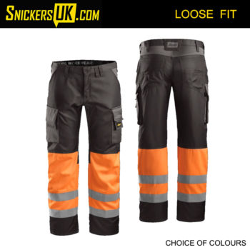Snickers 3833 High-Vis CL1 Trousers - Snickers Hi Vis Trousers