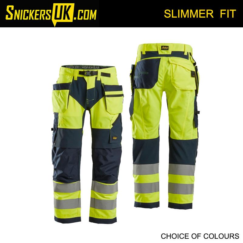 Snickers 6932 FlexiWork Hi-Vis Holster Pocket Trousers