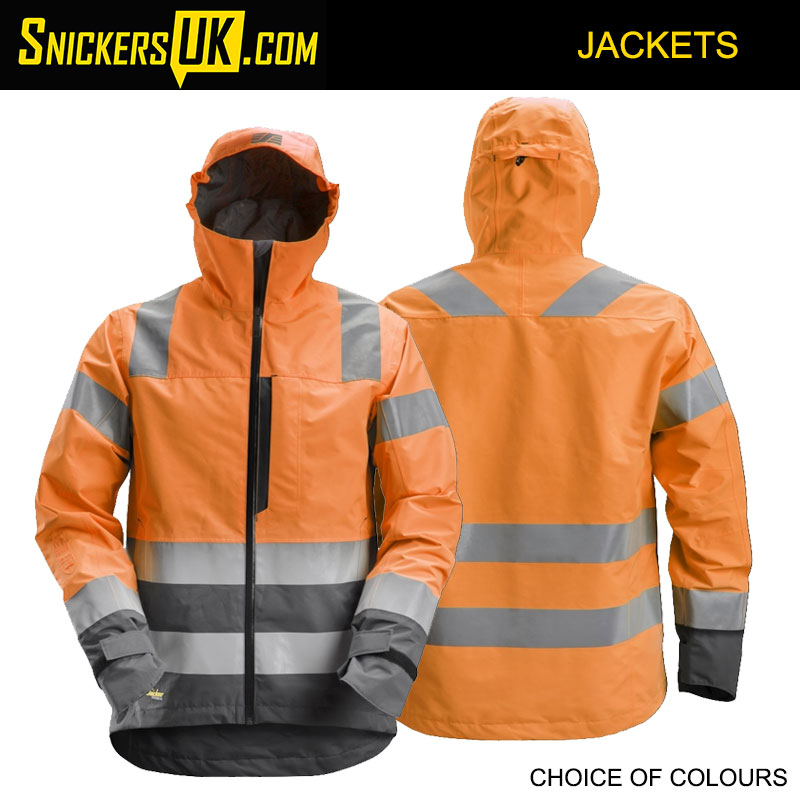 Snickers 1330 AllRoundWork High Vis Waterproof Shell Jacket | Snickers Hi-Vis Jackets