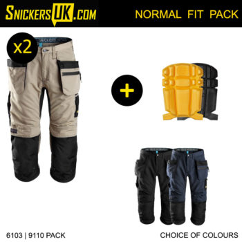 Snickers 6103 LiteWork 37.5 Holster Pocket 3/4 Pirate Trousers