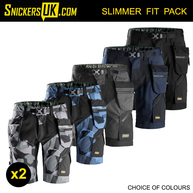 Holster Pockets Work Shorts Snickers 6904 Grey Camouflage FlexiWork