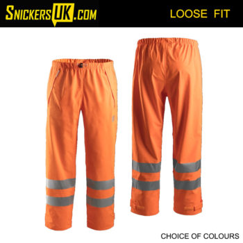 Snickers 8243 High-Vis PU CL2 Rain Trousers - Snickers Hi Vis Trousers