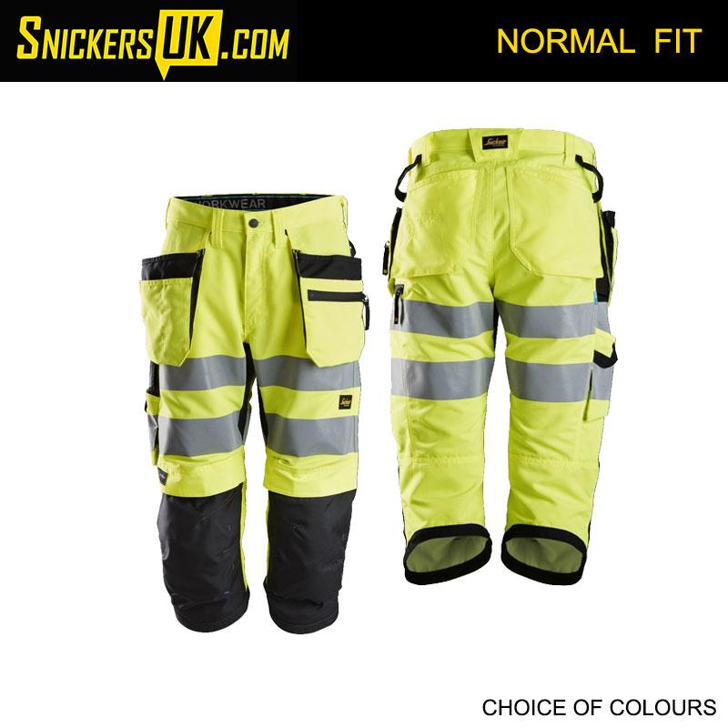 Snickers 6134 Litework High Vis Holster Pocket 3/4 Length Shorts - Snickers Hi-Vis Shorts