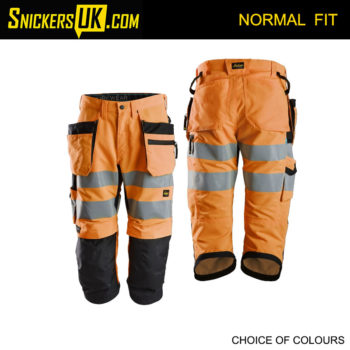 Snickers 6134 Litework High Vis Holster Pocket 3/4 Length Shorts - Snickers Hi-Vis Shorts