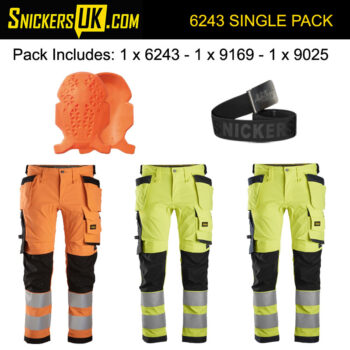 Snickers 6243 AllRoundWork High Vis Stretch Holster Pocket Trousers Pack